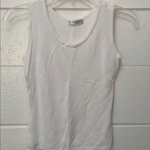 Celine white tank top, in drapey material sz XS